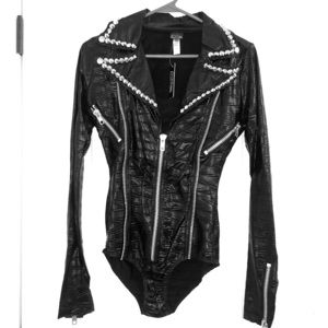 Biker costume, studded black onesie